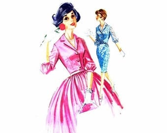SALE 1960s Misses Slim or Full Skirt Dress McCalls 6323 Vintage Sewing Pattern Size 12 Bust 32