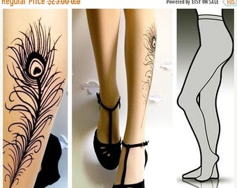 ON SALE/// Large/Extra Largesexy PEACOCK Feather Tattoo  tights / stockings full length pantyhose Ultra Pale