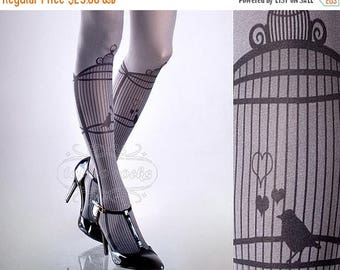 30%off/endsJUL23/ Tattoo Tights, Bird Cage Asphalt one size full length closed toe printed tights pantyhose, by tattoosocks