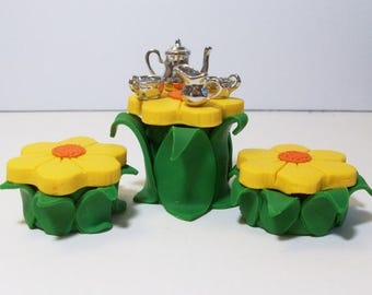 SALE 20% MINIATURES Fairy or gnome Garden miniature wood table with tree stump chairs and table setting