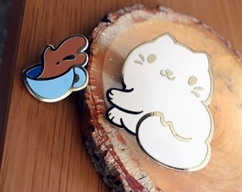 No Respect Cat and Coffee [Enamel Pin Set]