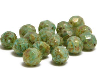 8mm - Fire Polished Beads - Round Beads - Czech Glass Beads - Czech Picasso Beads - Czech Beads - Green - 16pcs (3265)