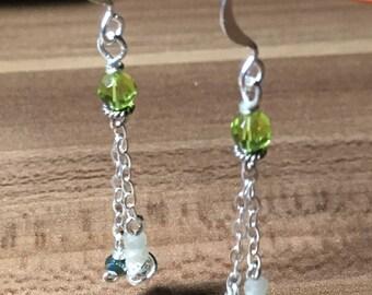 Drop Earrings Green Silver