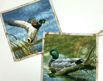 Pot Holders Mallard Ducks Hot Pads Quilted Set of Two Cabin Rustic Woodland Kitchen Cooking