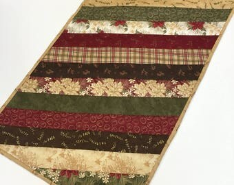Rustic Christmas Table Topper Runner Strip Quilted  Home Decor  Handmade
