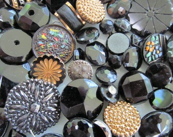 Vintage Buttons Lot Antique Black Glass Buttons Victorian Button Lot Old Buttons Vintage Sewing Buttons Antique Glass Buttons