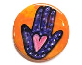 Heart Hamsa Pin, Magnet o...