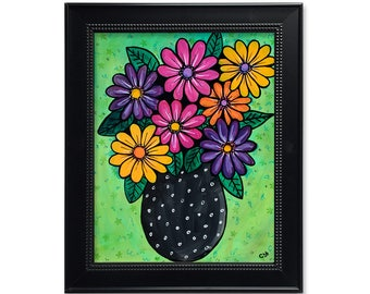 Gerber Daisy Print - Gerbera Daisies Art - Abstract Flower Still Life - Colorful Floral Wall Art Decor - Modern Art Print - Bright Colors