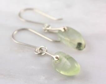 Pinned Prehnite Silver Earrings