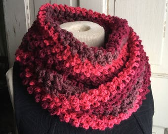 Red Stripe Infinity Cowl Scarf Long Circle Cowl Crochet Scarf