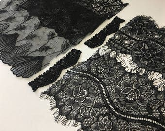 assortment of various smaller sheer lingerie tulle lace / mesh swatches — black (floral/embroidery)  — different sizes and patterns