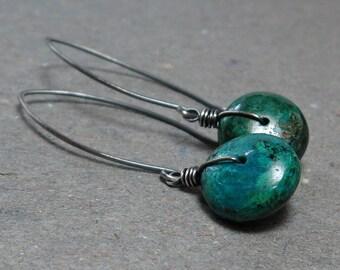 Chrysocolla Earrings Green Blue Gemstones Long Oxidized Sterling Silver Earrings Gift for Girlfriend