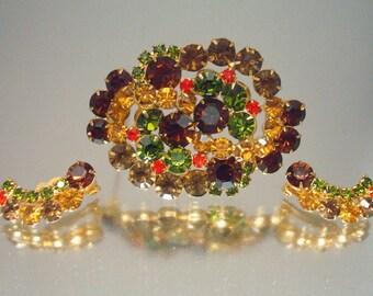 Juliana D&E  Pin Brooch and Earrings Amber Green Orange Rhinestones Autumn Fall