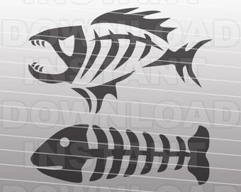 Fishing SVG File,Fish Bones SVG File,Tribal Fish Skeleton SVG File - Vector Clip Art for Commercial & Personal Use-Cricut,Silhouette Cameo