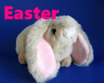 Vintage Easter Bunny Lop Eared Rabbit Stuffed Animal by Chosun Fluffy Gray Faux Fur Pink Ears Long Ears Pink Bow Girly Toy