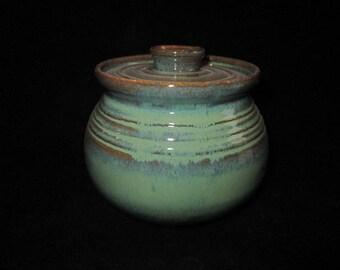 medium jar in light greens, stoneware pottery, wheel thrown, dishwasher safe