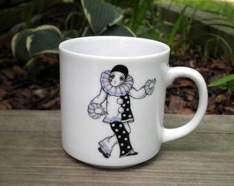 Vintage Circus Clown / Mime Coffee Mug / Cup - Circa 1980s - Retro Clown Carnival Parade Kids Cup Collectible - Cute Mime Ceramic Mug Gift