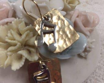 Earrings, Handmade, 14K Double Clad, Gold Filled, Musical Earrings