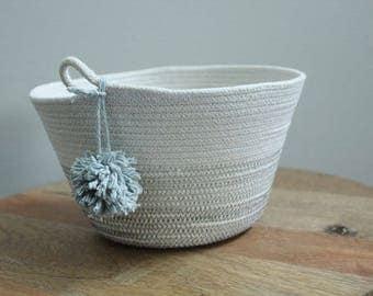 Basket rope coil grey pompom thread natural bin storage organizer bowl by PETUNIAS