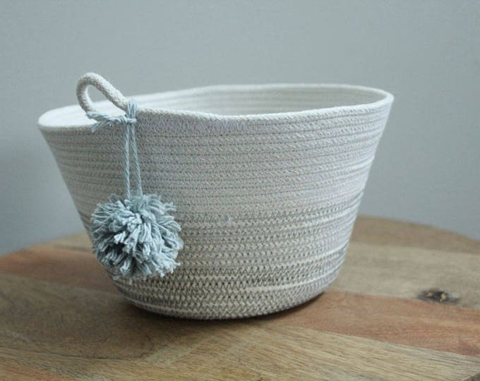 Basket rope coil grey pompom thread natural bin storage organizer bowl by PETUNIAS