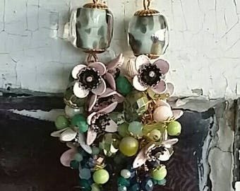 Little Pink Flowers on a Vine with beady foliage...Fresh Earrings from Wendy Baker