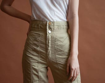 70s patchwork vertical seam bellbottom pants / extra high waist khaki pants / unique stitching pants / s / 2570t