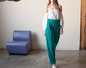 turquoise green knit pants / colorblock easy fit lounge pants / s / US 6 / 2764t / B9