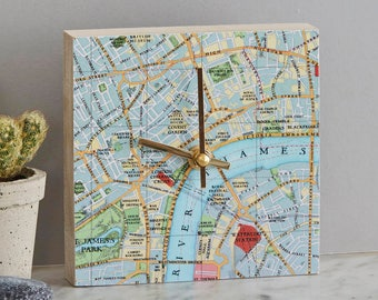Personalised map location clock - square wall clock - map clock - vintage map gift - home decor - map gift - unique clock