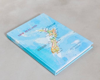 personalised New Zealand & Australia Map travel A5 lined notebook for lenore