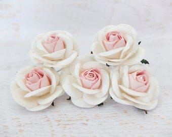 5 50mm/2 inches cream pale pink paper roses