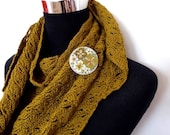 50% CHRISTMAS SALES EVENT New - hand crafted 100 Percent cotton triangualar scarf with co-ordinating felt brooch