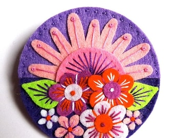 HALF PRICE Summer Sale SUMMER felt brooch pin with freeform embroidery - scandinavian style
