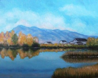 Original Artwork 11 x 14 Inch Oil Painting on Canvas Lovely Blue Sky Mountain Lake Reflective Landscape of the Western United States Utah 2