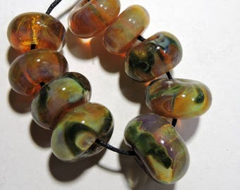 Handmade Lampwork Glass Borosilicate Beads AUTUMN Two Sisters Designs 081417C