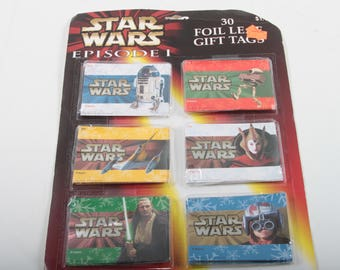 1997 Star Wars, Episode 1, Foil Leaf, Gift Tags, Set of 30 Stickers, Phantom Menace, R2D2, Padme, Naboo Starfighter, Christmas ~ 170322