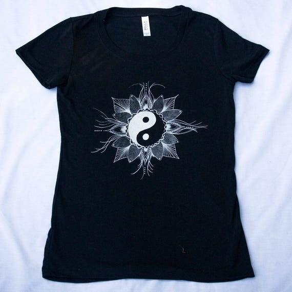Women's Yin Yang Tee Shirt Mandala Balance Flower of Life