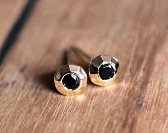 14k Gold stud earrings, black spinel earrings, gold stud earrings, modern stud earrings 14k gold, tiny stud earrings gold, gift for wife