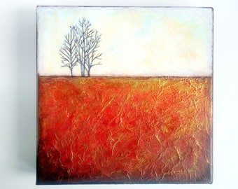 "Original acrylic mixed media painting, canvas wall art, home decor, texture art, gold, red, trees, abstract landscape, 10 x 10"" square"