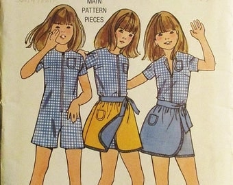60% OFF SALE 1960s Vintage Sewing Pattern Butterick 6188 Girls Pantdress & Reversible Skirt Pattern Size 8 Breast 27