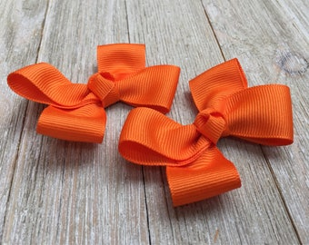 Orange Hair Bows,Pigtail Hair Bows,3 Inch Wide Hair Bows,Alligator Clips,Birthday Party Favors