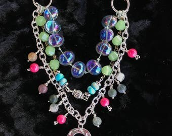 Multi-Strand Necklace with Enameled Eye Focal Piece Free Shipping