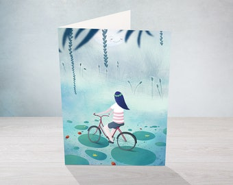 Fireflies by night and bicycle - greeting card - for any occasion