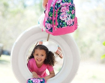 ON SALE Monogram backpack - back to school - monogram backpack for girls - hair bow -  backpack and lunch bag set - pencil case - Posie
