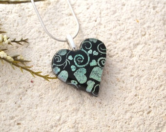 OOAK Petite Pale Green Heart, Heart Necklace, Fused Glass Jewelry, Heart Pendant, Dichroic Jewelry, ccvalenzo, Handmade Jewelry, 122717p100