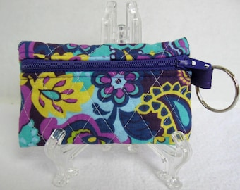 Paisley Quilted Coin Purse - Purple Blue Change Purse - Small Zippered Pouch - Coin Purse Key Chain - Ear Bud Case