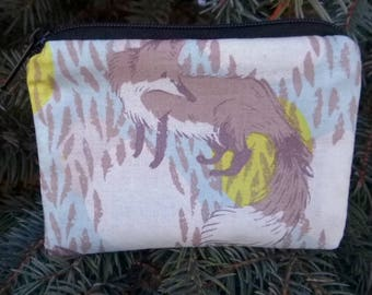 Fox coin purse, gift card pouch, credit card pouch, The Raven