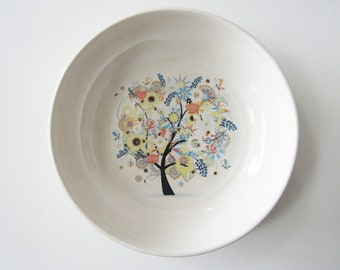 Shallow bowl, Flowering tree print, pottery bowl, white and beige glazes with colorful flowering tree