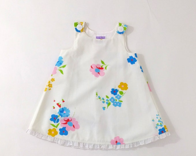 Girls Dress, Girls Dresses, White Floral Toddler Dress, Baby Dress, Newborn Dress, Dress from Vintage Fabric, Size Newborn to Girls 6T