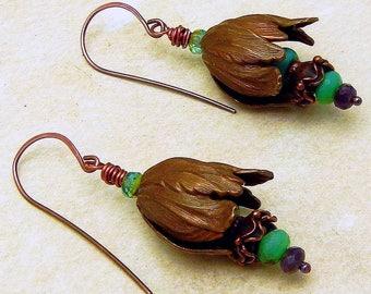 Flower Cone, Peruvian Opal, Copper Earrings Handmade Copper Jewelry SRA Gypsy Boho Artisan jewelry