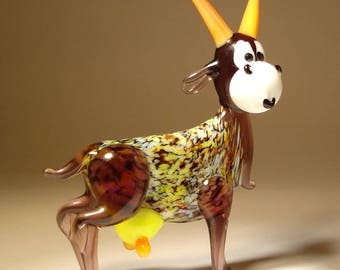 Handmade  Blown Glass Art Figurine Farm Animal Comic Happy GOAT